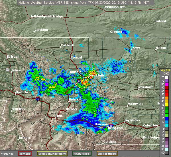 Radar Image for Severe Thunderstorms near Stockett, MT at 7/23/2020 4:24 PM MDT