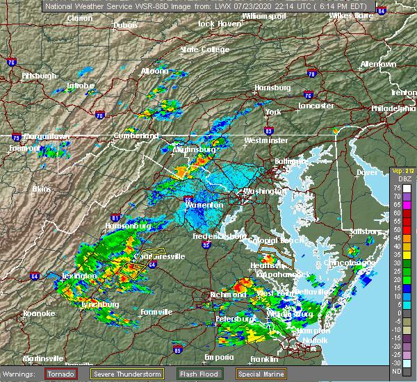 Radar Image for Severe Thunderstorms near Pantops, VA at 7/23/2020 6:41 PM EDT