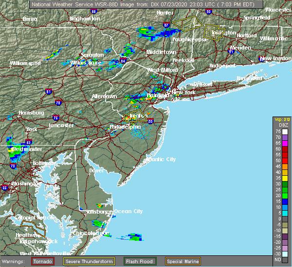 Radar Image for Severe Thunderstorms near Kendall Park, NJ at 7/23/2020 7:08 PM EDT