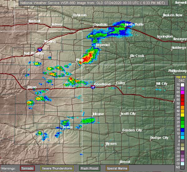 Radar Image for Severe Thunderstorms near Parks, NE at 7/23/2020 6:38 PM MDT