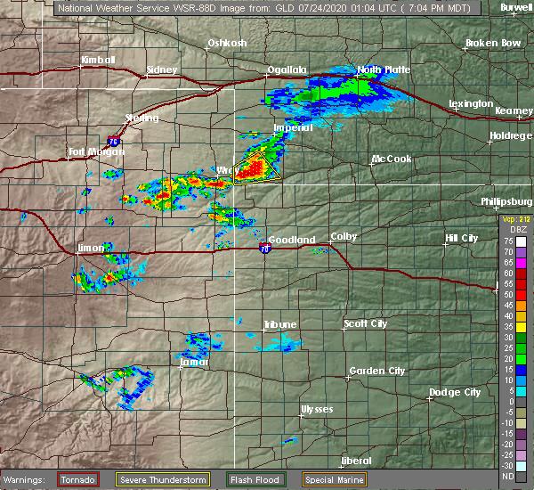 Radar Image for Severe Thunderstorms near Haigler, NE at 7/23/2020 7:07 PM MDT