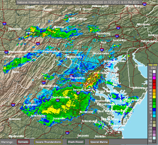 Radar Image for Severe Thunderstorms near Mount Rainier, MD at 7/23/2020 9:16 PM EDT