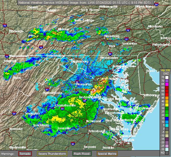 Radar Image for Severe Thunderstorms near Morningside, MD at 7/23/2020 9:19 PM EDT