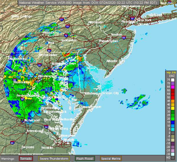 Radar Image for Severe Thunderstorms near Newark, DE at 7/23/2020 10:29 PM EDT