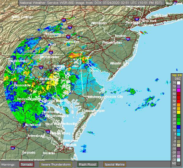 Radar Image for Severe Thunderstorms near Newark, DE at 7/23/2020 10:54 PM EDT