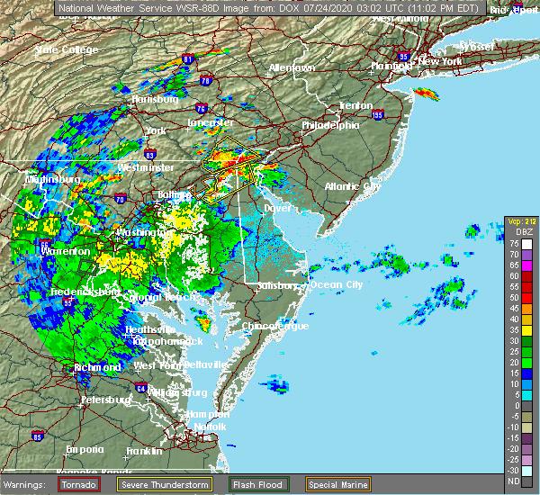 Radar Image for Severe Thunderstorms near Newark, DE at 7/23/2020 11:06 PM EDT