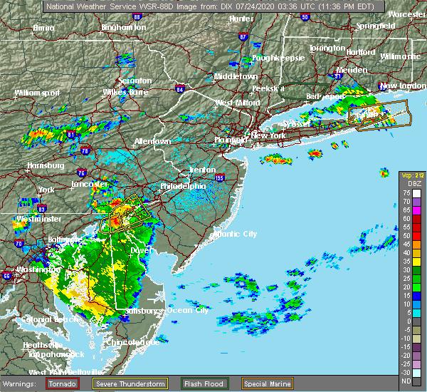 Radar Image for Severe Thunderstorms near Newark, DE at 7/23/2020 11:38 PM EDT