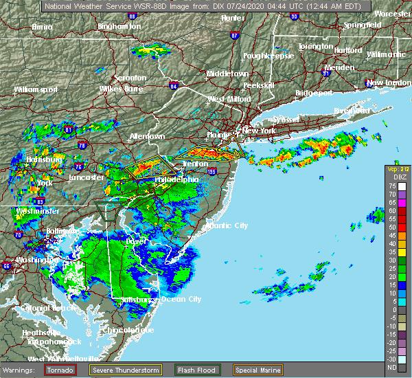 Radar Image for Severe Thunderstorms near Kendall Park, NJ at 7/24/2020 12:52 AM EDT