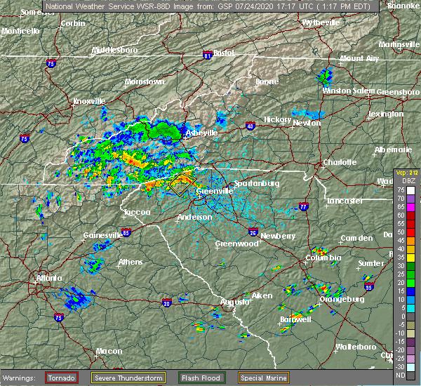 Radar Image for Severe Thunderstorms near Parker, SC at 7/24/2020 1:28 PM EDT