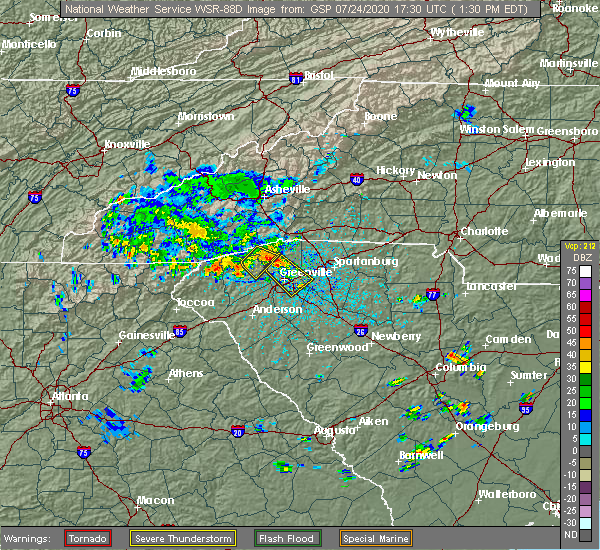 Radar Image for Severe Thunderstorms near Arial, SC at 7/24/2020 1:38 PM EDT
