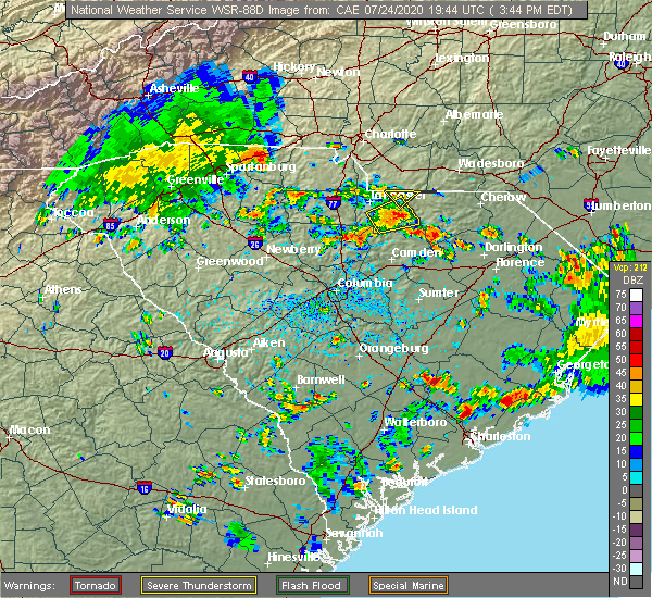 Radar Image for Severe Thunderstorms near Monroe, NC at 7/24/2020 3:47 PM EDT