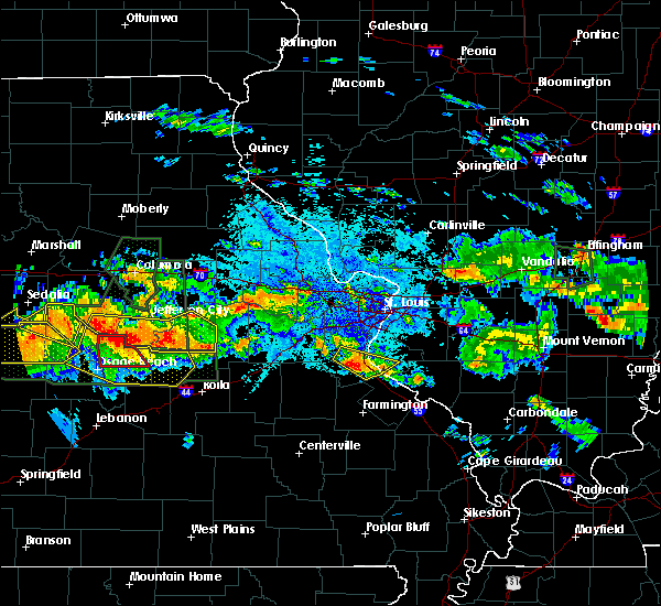 Radar Image for Severe Thunderstorms near Wardsville, MO at 7/1/2015 9:38 PM CDT