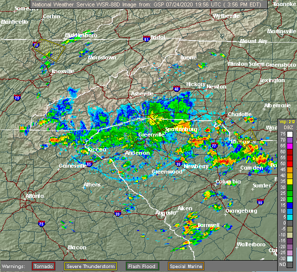 Radar Image for Severe Thunderstorms near Charlotte, NC at 7/24/2020 4:06 PM EDT