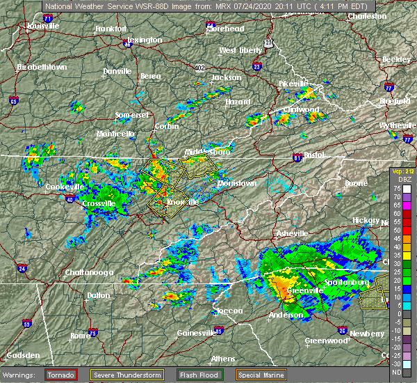 Radar Image for Severe Thunderstorms near Andersonville, TN at 7/24/2020 4:18 PM EDT