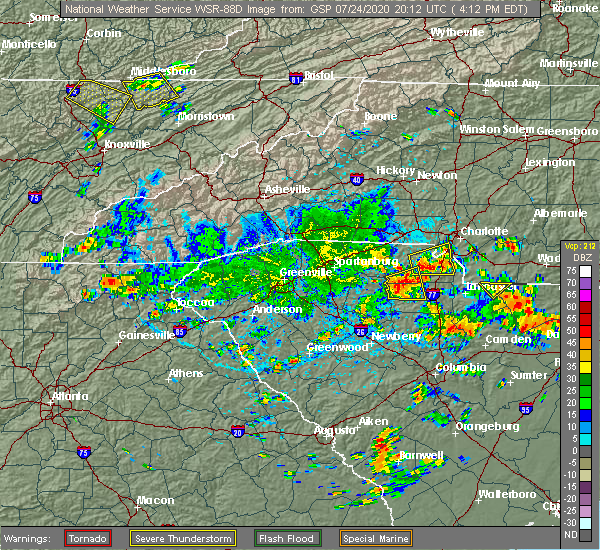 Radar Image for Severe Thunderstorms near Charlotte, NC at 7/24/2020 4:27 PM EDT