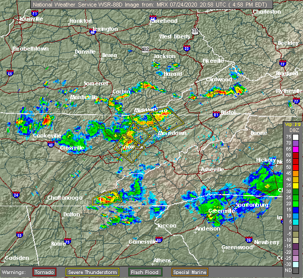 Radar Image for Severe Thunderstorms near Morristown, TN at 7/24/2020 5:02 PM EDT