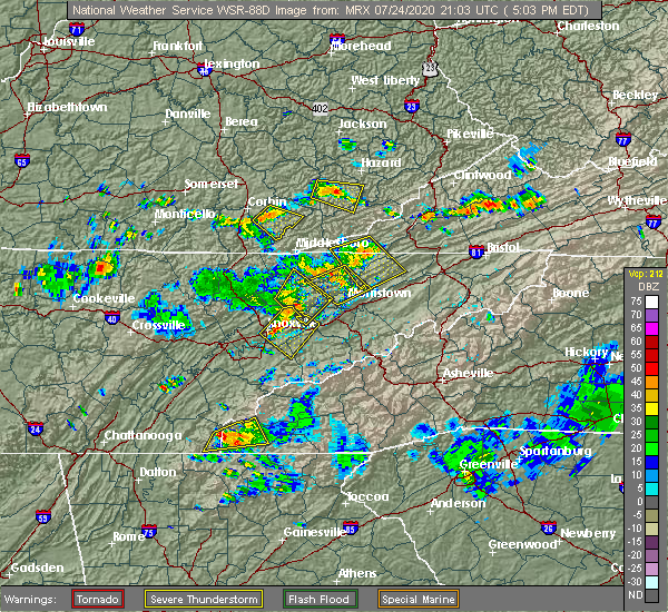 Radar Image for Severe Thunderstorms near Barbourville, KY at 7/24/2020 5:10 PM EDT