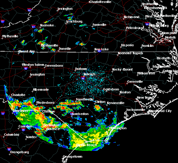 Radar Image for Severe Thunderstorms near Cameron, NC at 7/24/2020 5:10 PM EDT
