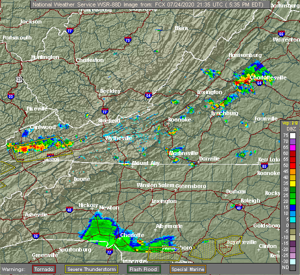 Radar Image for Severe Thunderstorms near Chatmoss, VA at 7/24/2020 5:42 PM EDT