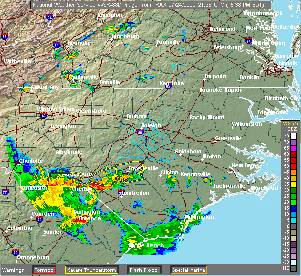 Radar Image for Severe Thunderstorms near Hope Mills, NC at 7/24/2020 5:44 PM EDT