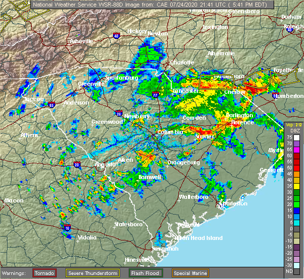 Radar Image for Severe Thunderstorms near Cordova, NC at 7/24/2020 5:46 PM EDT