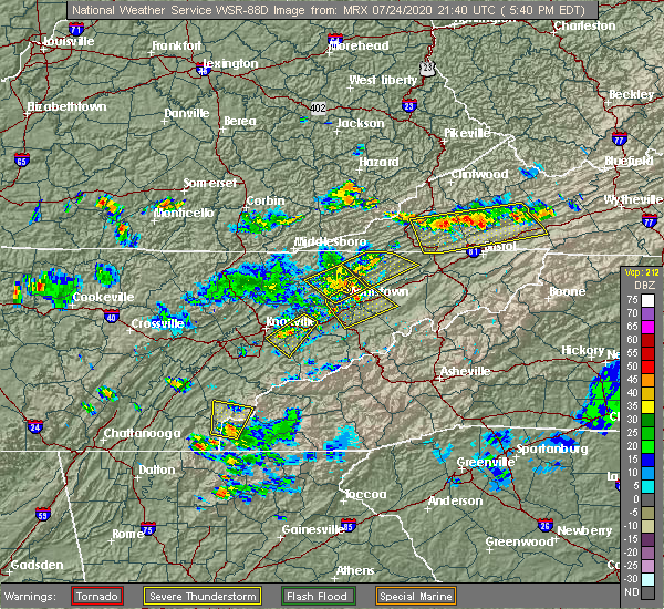 Radar Image for Severe Thunderstorms near Morristown, TN at 7/24/2020 5:46 PM EDT