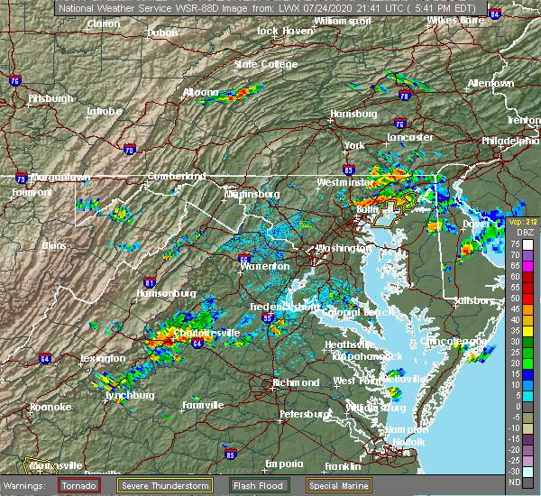Radar Image for Severe Thunderstorms near Pantops, VA at 7/24/2020 5:45 PM EDT