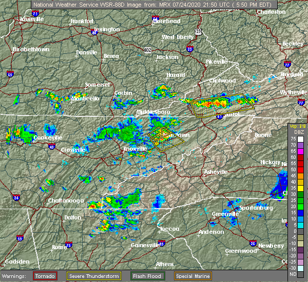 Radar Image for Severe Thunderstorms near Morristown, TN at 7/24/2020 5:56 PM EDT