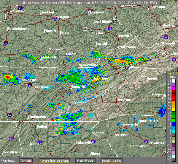 Radar Image for Severe Thunderstorms near Tellico Plains, TN at 7/24/2020 6:11 PM EDT