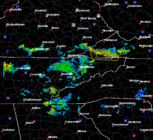 Radar Image for Severe Thunderstorms near Tellico Plains, TN at 7/24/2020 6:21 PM EDT