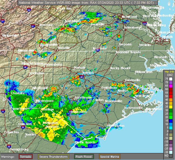 Radar Image for Severe Thunderstorms near Garner, NC at 7/24/2020 7:36 PM EDT