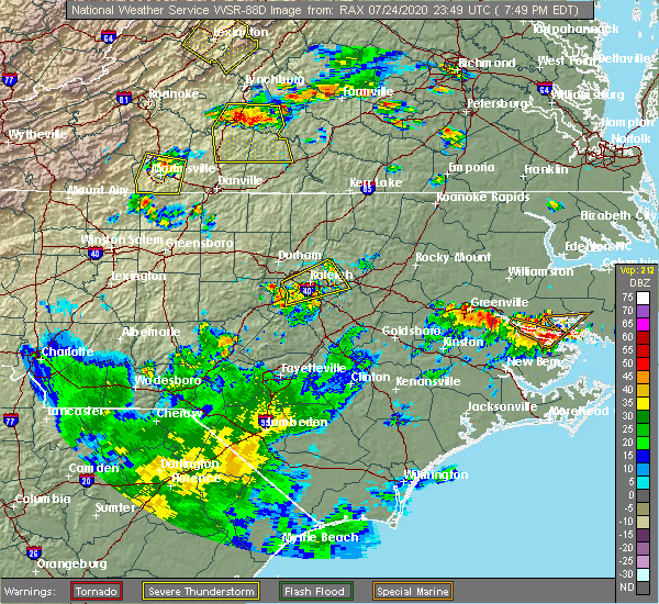 Radar Image for Severe Thunderstorms near Garner, NC at 7/24/2020 7:53 PM EDT