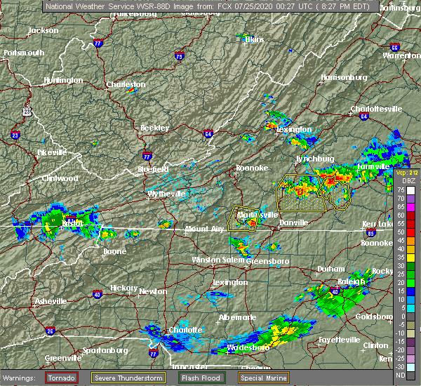 Radar Image for Severe Thunderstorms near Chatmoss, VA at 7/24/2020 8:31 PM EDT