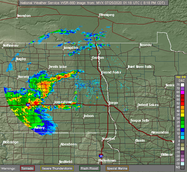 Radar Image for Severe Thunderstorms near Michigan City, ND at 7/24/2020 8:22 PM CDT