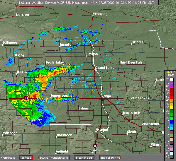 Radar Image for Severe Thunderstorms near Michigan City, ND at 7/24/2020 8:32 PM CDT