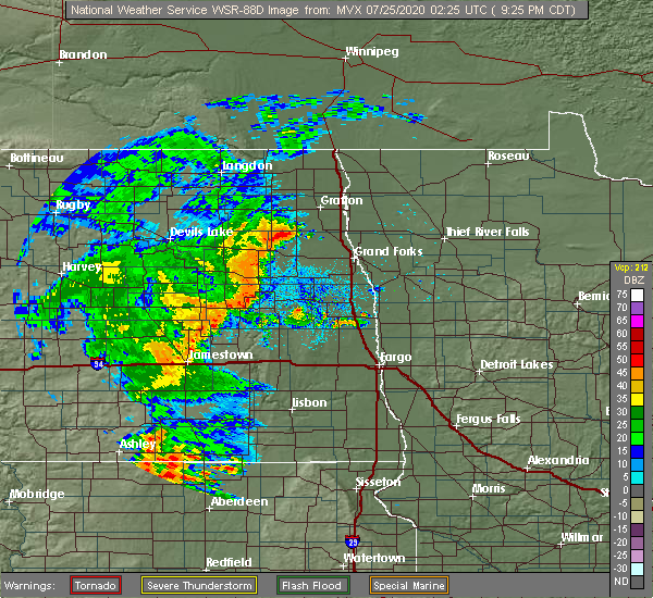 Radar Image for Severe Thunderstorms near Finley, ND at 7/24/2020 9:33 PM CDT