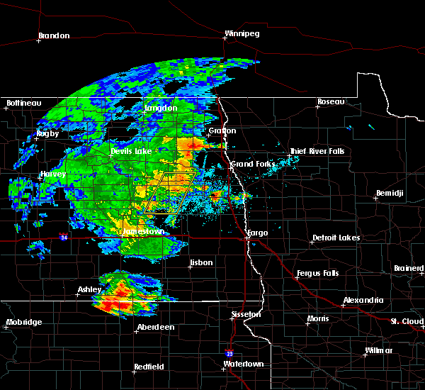 Radar Image for Severe Thunderstorms near Finley, ND at 7/24/2020 9:53 PM CDT