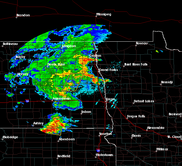 Radar Image for Severe Thunderstorms near Emerado, ND at 7/24/2020 10:17 PM CDT