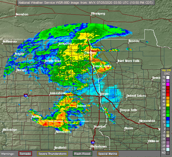 Radar Image for Severe Thunderstorms near Emerado, ND at 7/24/2020 10:57 PM CDT