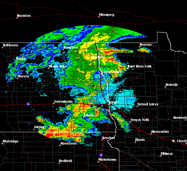 Radar Image for Severe Thunderstorms near Thief River Falls, MN at 7/24/2020 11:16 PM CDT