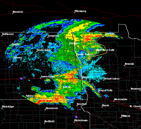 Radar Image for Severe Thunderstorms near Harwood, ND at 7/24/2020 11:44 PM CDT