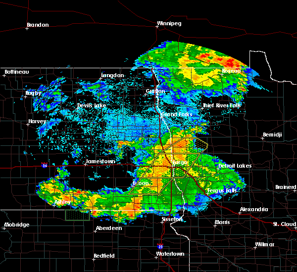 Radar Image for Severe Thunderstorms near Harwood, ND at 7/25/2020 12:34 AM CDT