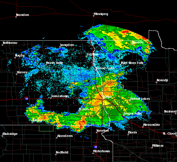 Radar Image for Severe Thunderstorms near Harwood, ND at 7/25/2020 12:45 AM CDT