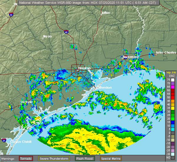 Radar Image for Severe Thunderstorms near Rosenberg, TX at 7/25/2020 6:54 AM CDT