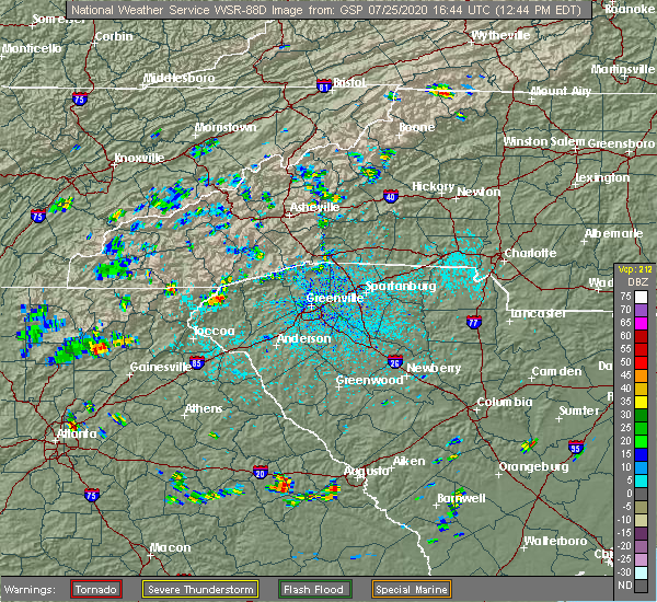 Radar Image for Severe Thunderstorms near Westminster, SC at 7/25/2020 12:49 PM EDT