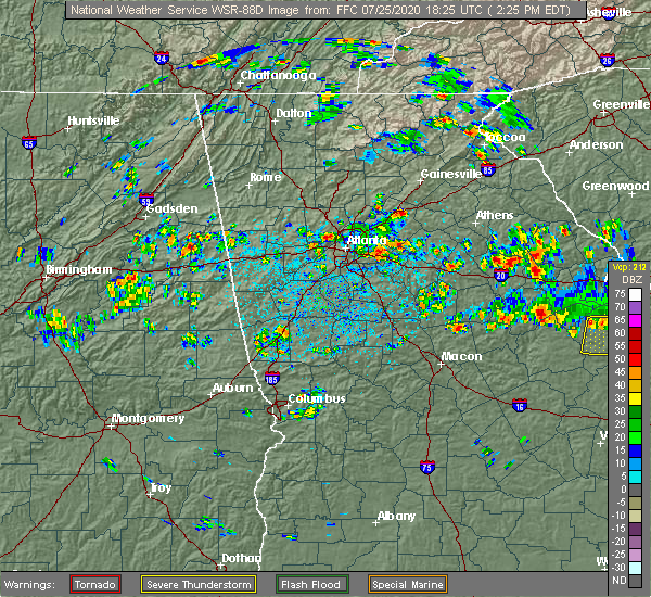 Radar Image for Severe Thunderstorms near Buford, GA at 7/25/2020 2:31 PM EDT