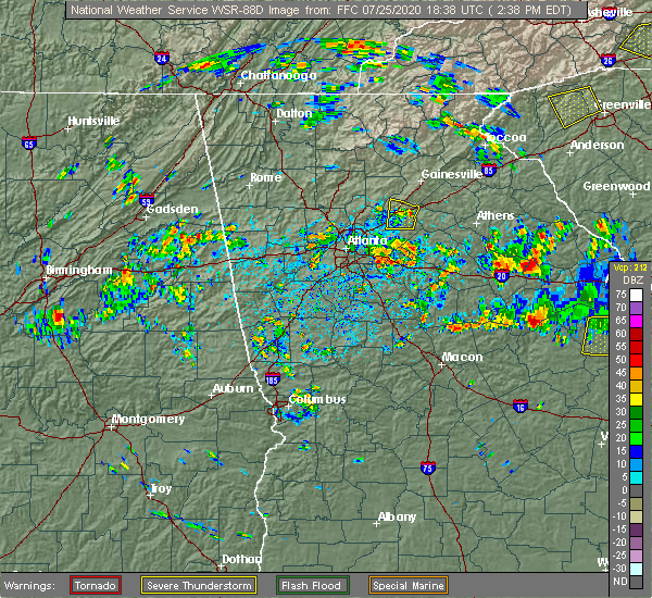 Radar Image for Severe Thunderstorms near Buford, GA at 7/25/2020 2:47 PM EDT