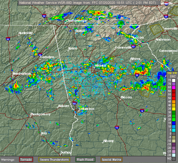 Radar Image for Severe Thunderstorms near Walnut Grove, GA at 7/25/2020 2:58 PM EDT