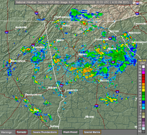 Radar Image for Severe Thunderstorms near Concord, GA at 7/25/2020 4:43 PM EDT