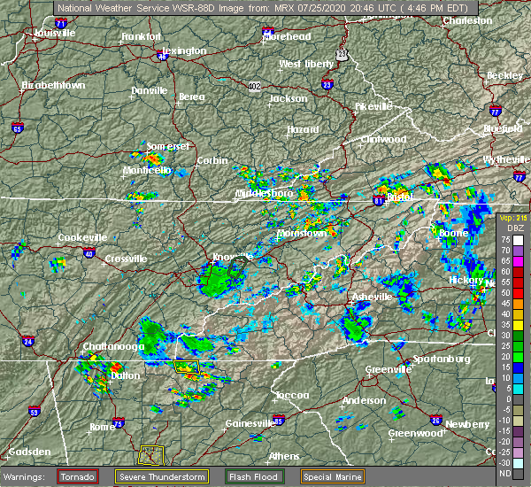 Radar Image for Severe Thunderstorms near Morganton, GA at 7/25/2020 4:54 PM EDT